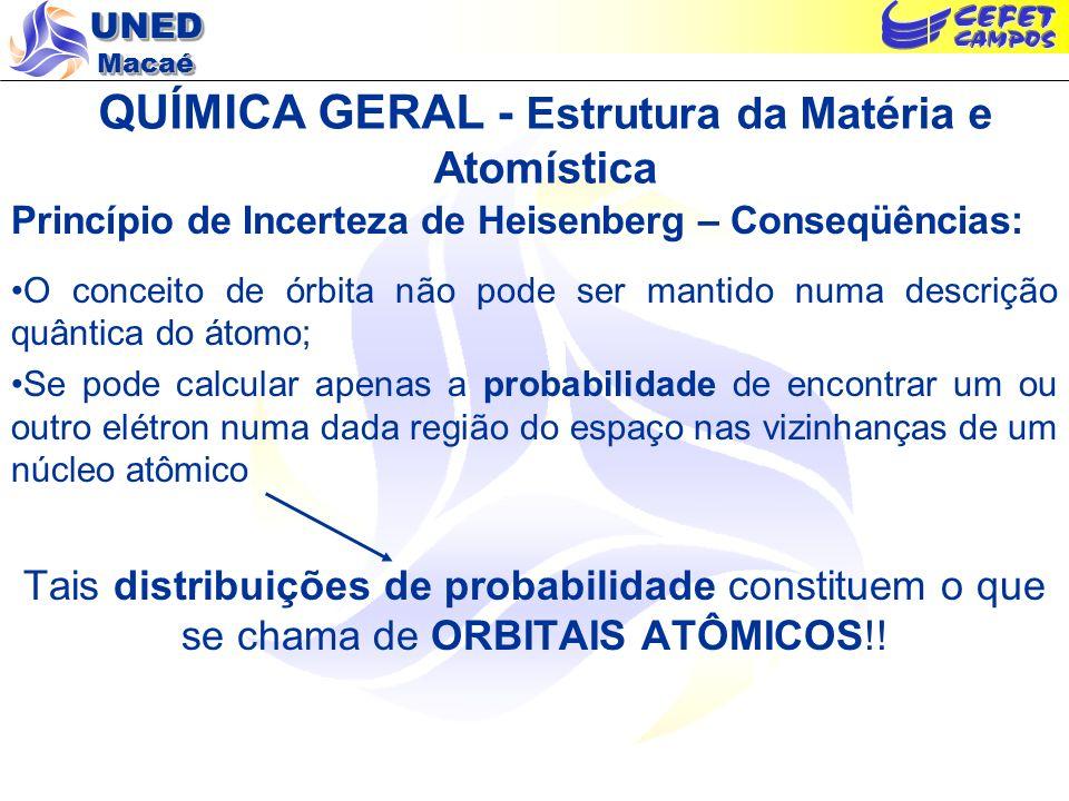 UNED Macaé QUÍMICA GERAL - Estrutura da Matéria e Atomística OBS: Orbitais Atômicos e Equação de Schroedinger Considerando a energia total e o comportamento ondulatório da matéria, podemos reescrever a seguinte equação de onda para as 3 dimensões do espaço: