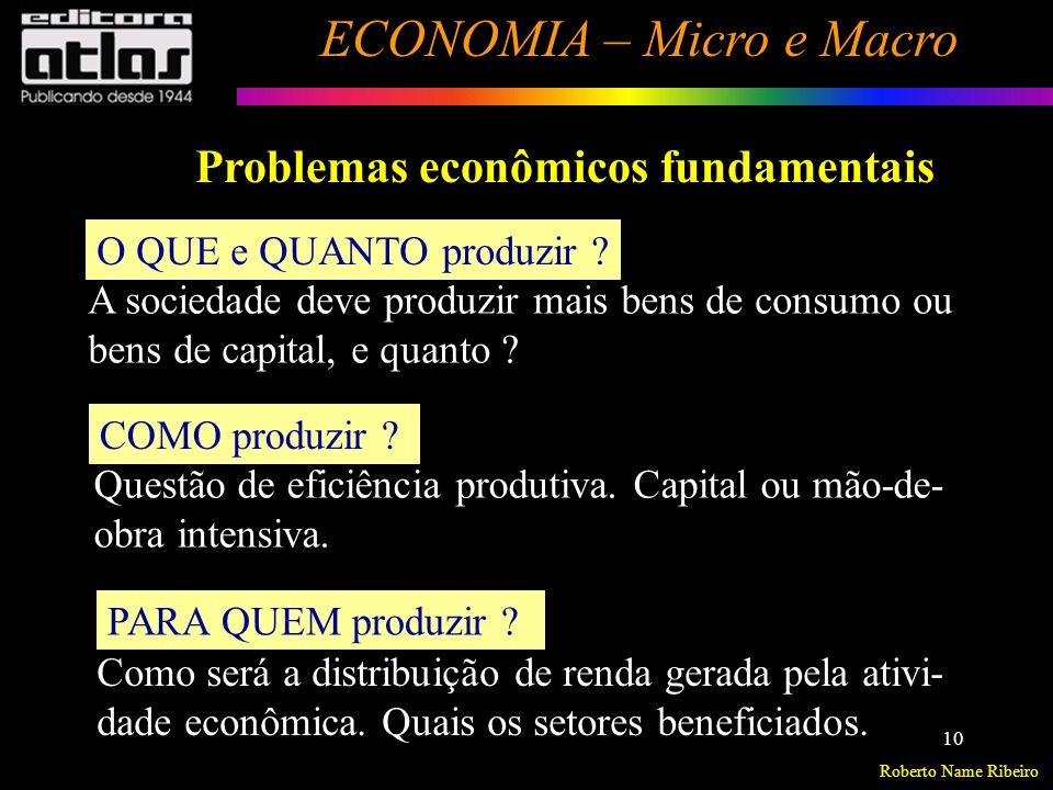 Roberto Name Ribeiro ECONOMIA – Micro e Macro 11 Necessidades humanas ilimitadas X Recursos produtivos escassos Escassez Escolha O que e quanto Como Para quem (produzir) Problemas econômicos fundamentais