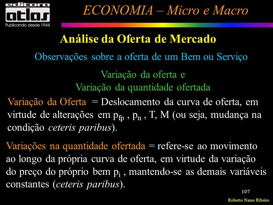 Roberto Name Ribeiro ECONOMIA – Micro e Macro 108 Análise da Oferta de Mercado Variações na quantidade ofertada Preços dos Insumos Preços dos Bens Subst.