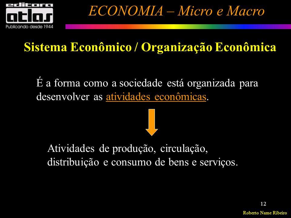 Roberto Name Ribeiro ECONOMIA – Micro e Macro 13 Sistema Econômico / Organização Econômica Principais formas:.