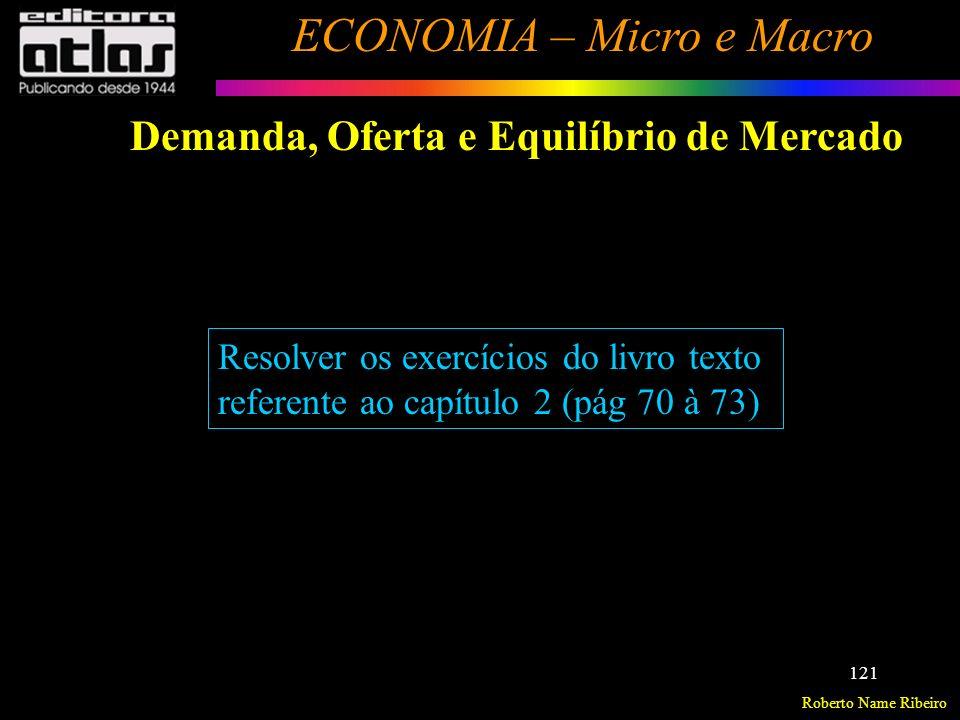 Roberto Name Ribeiro ECONOMIA – Micro e Macro 122 Conceito Elasticidade-Preço da Demanda Elasticidade-Preço Cruzada da Demanda Elasticidade-Renda da Demanda Elasticidade-Preço da Oferta Exercícios - Elasticidades