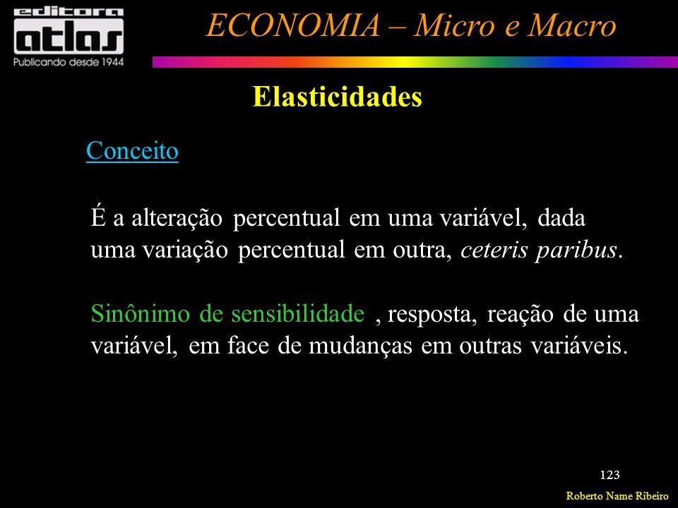 Roberto Name Ribeiro ECONOMIA – Micro e Macro 124 Elasticidades Exemplos na Microeconomia: Elasticidade-preço da demanda : Variação percentual na quantidade demandada, dada a variação percentual no preço do bem, ceteris paribus.