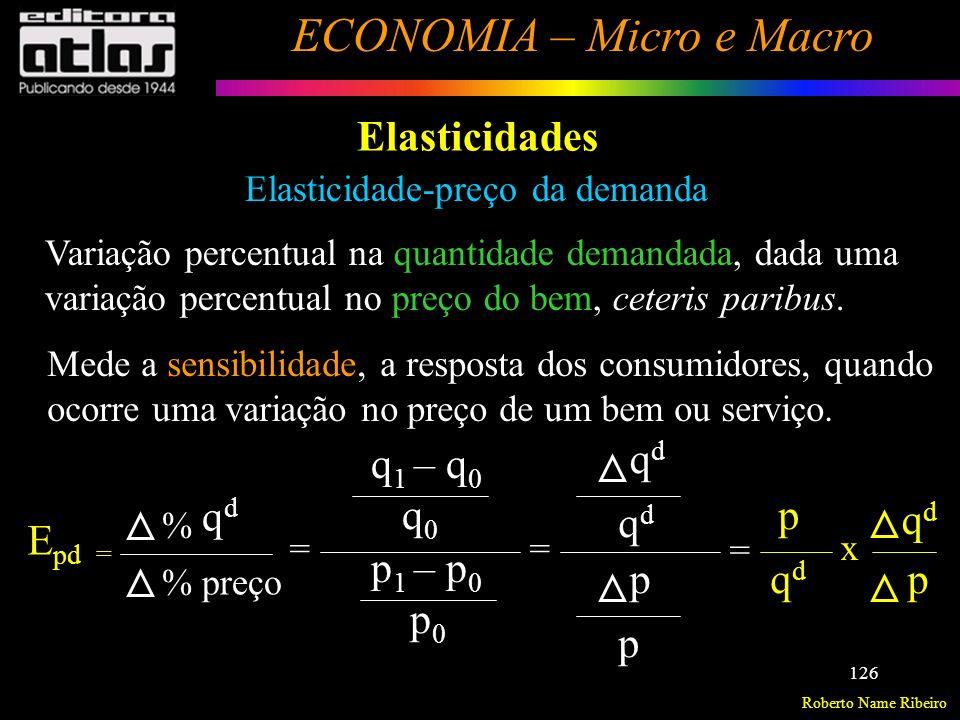 Roberto Name Ribeiro ECONOMIA – Micro e Macro 127 Elasticidades Elasticidade-preço da demanda E pd = p qdqd qdqd p x >0 <0 Lei Geral da Demanda A Elasticidade-preço da demanda é sempre negativa.