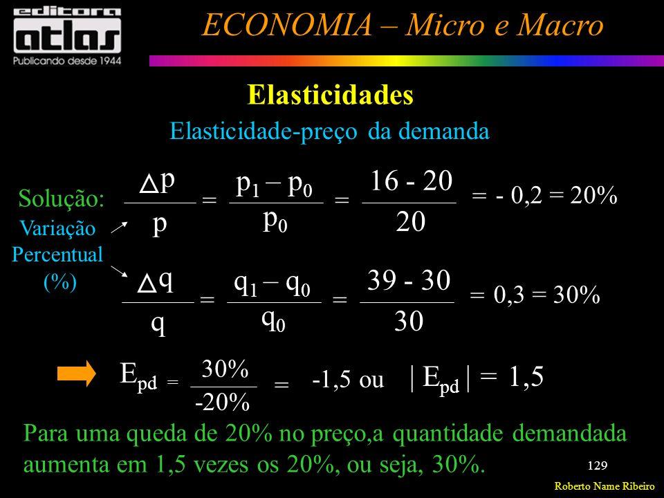 Roberto Name Ribeiro ECONOMIA – Micro e Macro 130 Elasticidades Elasticidade-preço da demanda Classificação:Demanda Elástica, inelástica e de elasticidade unitária.