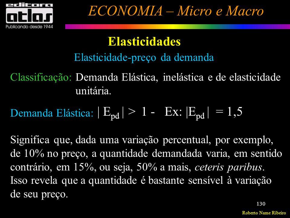 Roberto Name Ribeiro ECONOMIA – Micro e Macro 131 Elasticidades Elasticidade-preço da demanda Demanda Inelástica: | E pd | < 1 - Ex: | E pd | = 0,4 Neste caso, os consumidores são pouco sensíveis a variações de preço: uma variação de, por exemplo, 10% no preço leva a uma variação na demanda des- se bem de apenas 4% (sem sentido contrário).