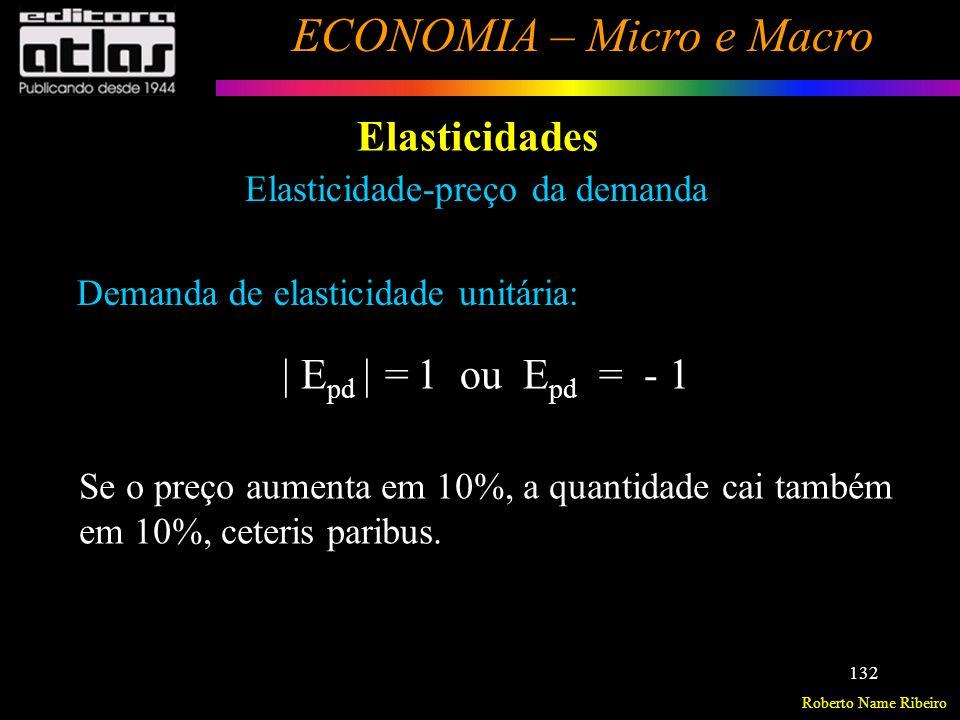 Roberto Name Ribeiro ECONOMIA – Micro e Macro 133 Elasticidades Elasticidade-preço da demanda Exemplo: Seja as elasticidades-preço da demanda dos bens A e B; E pd A = -2 e E pd B = -0,8.
