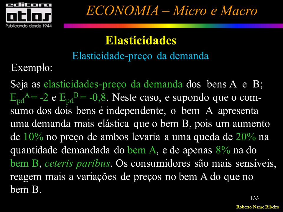 Roberto Name Ribeiro ECONOMIA – Micro e Macro 134 Elasticidades Elasticidade-preço da demanda Fatores que afetam: Disponibilidade de bens substitutos Essencialidade do bem Importância relativa do bem no orçamento do consumidor Horizonte de tempo