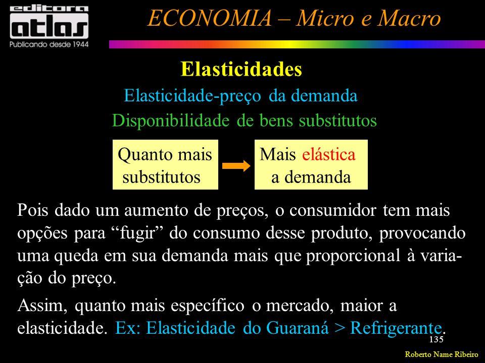 Roberto Name Ribeiro ECONOMIA – Micro e Macro 136 Elasticidades Elasticidade-preço da demanda Essencialidade do bem Quanto mais essencial Mais inelástica a demanda Esse tipo de bem não traz muitas opções para o consumidor fugir do aumento de preços.