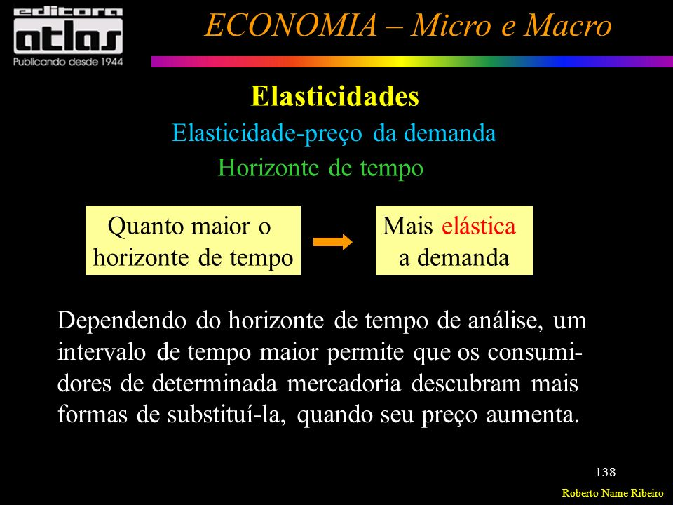 Roberto Name Ribeiro ECONOMIA – Micro e Macro 139 Elasticidades Elasticidade-preço da demanda Interpretação geométrica A elasticidade-preço da demanda varia, ao longo de uma mesma curva de demanda.