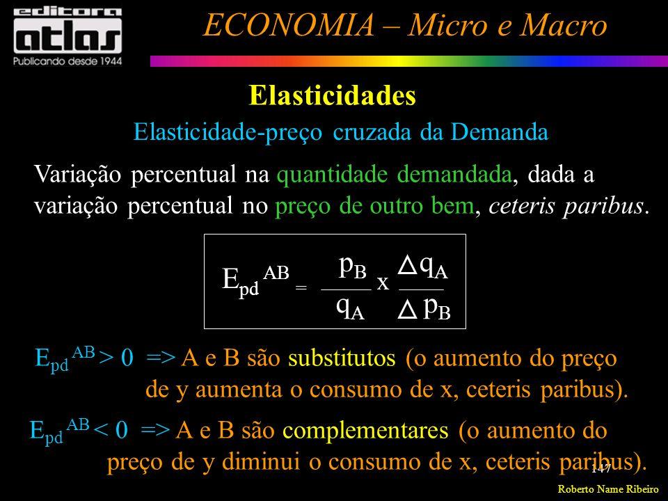 Roberto Name Ribeiro ECONOMIA – Micro e Macro 148 Elasticidades Elasticidade-renda da Demanda Variação percentual na quantidade demandada, dada uma variação percentual na renda do consumidor, ceteris paribus.