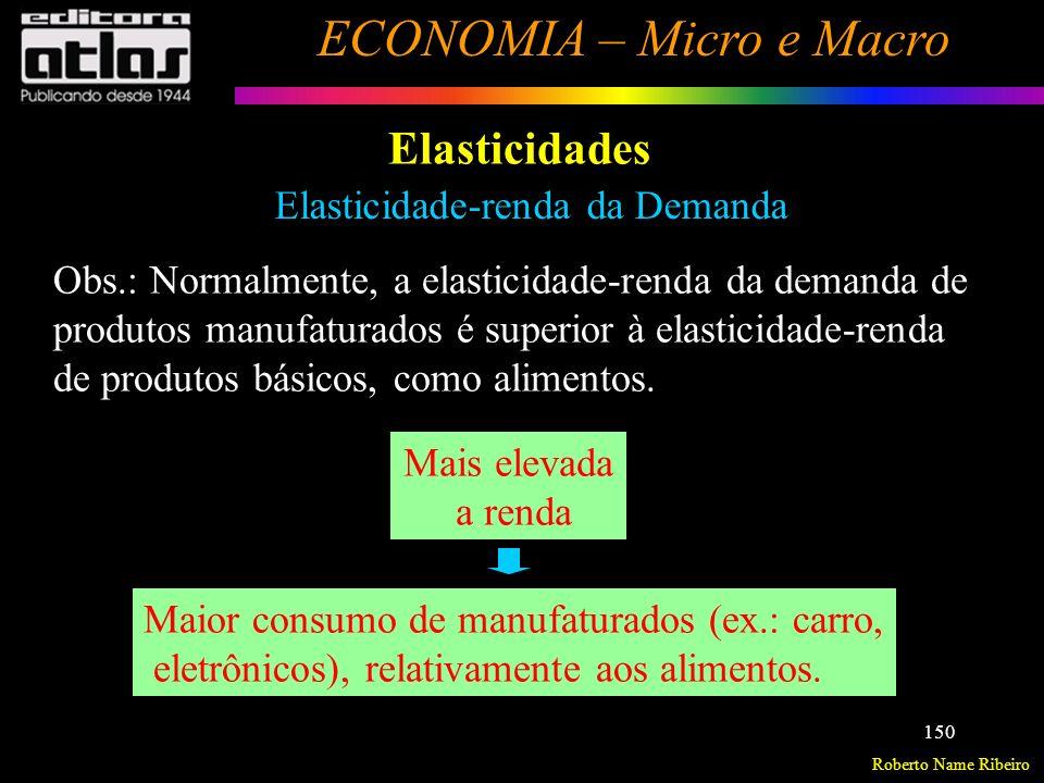 Roberto Name Ribeiro ECONOMIA – Micro e Macro 151 Elasticidades Elasticidade-preço da oferta E po = p qoqo qoqo p x E po > 1 => Bem de oferta elástica.