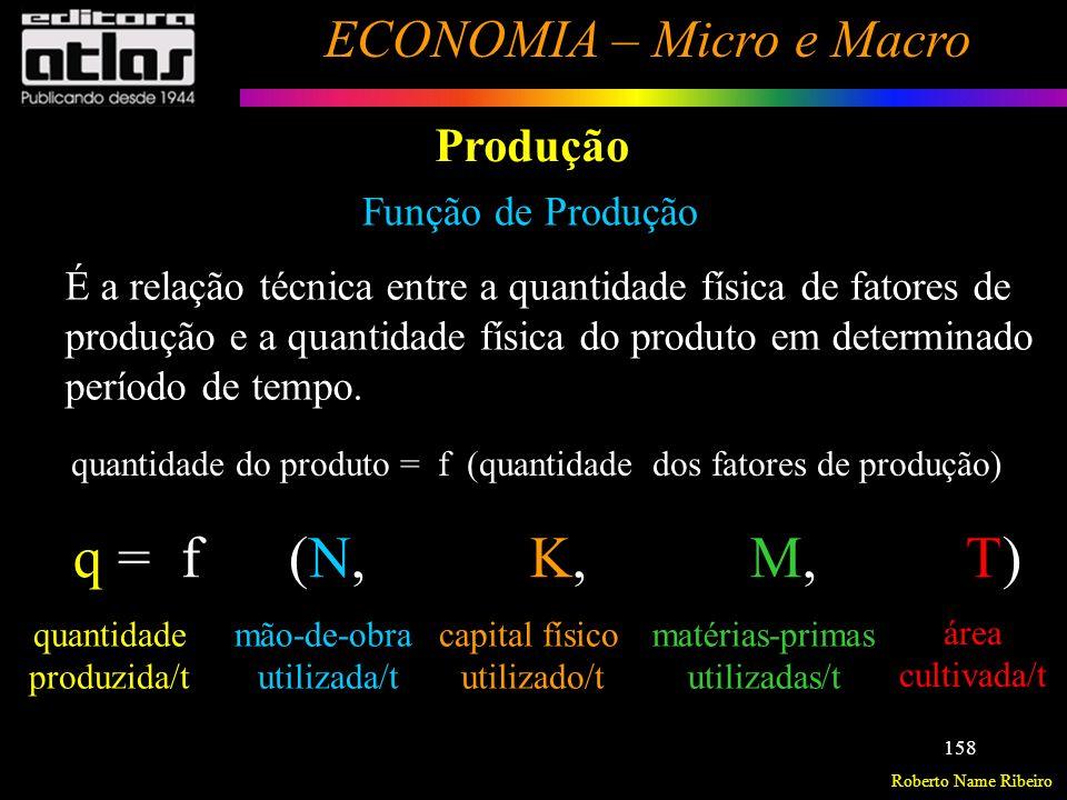 Roberto Name Ribeiro ECONOMIA – Micro e Macro 159 Produção Função de Produção Supõe-se que foi atendida a eficiência técnica (máxima produção possível, em dados níveis de mão-de-obra, capital e tecnologia).