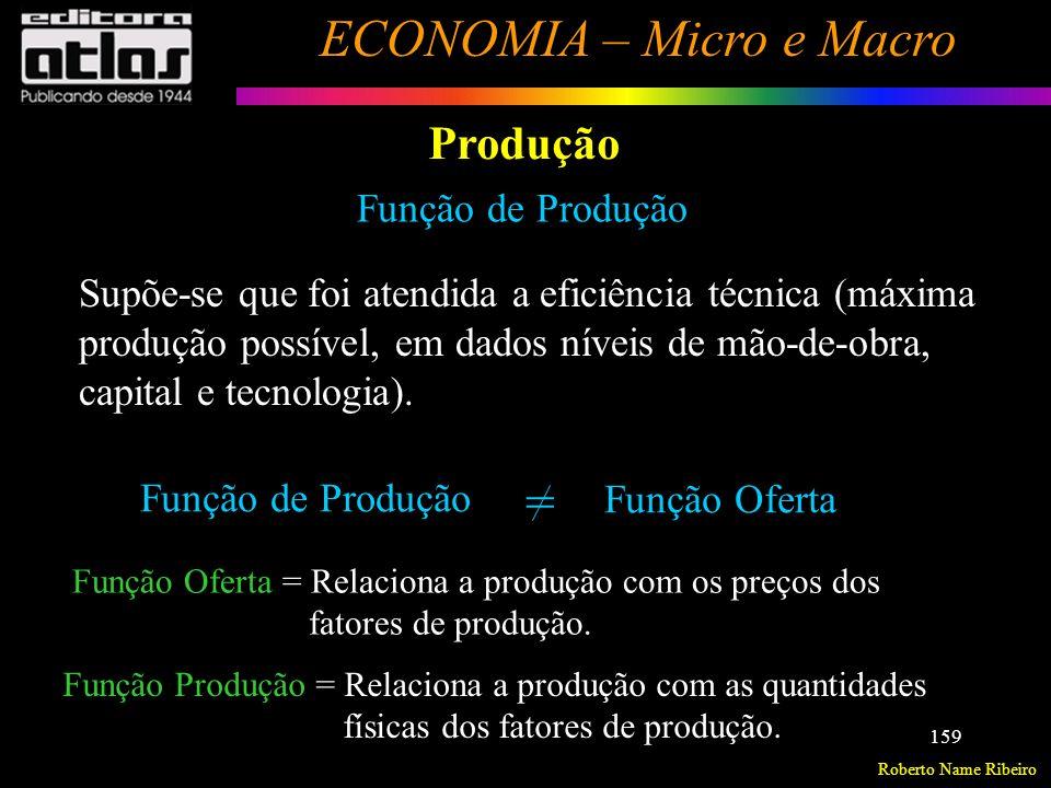 Roberto Name Ribeiro ECONOMIA – Micro e Macro 160 Produção Distinção entre Fatores de Produção Fixos e Variáveis e entre Curto e Longo Prazos Fatores de Produção Fixos – Permanecem inalterados quando a produção varia.