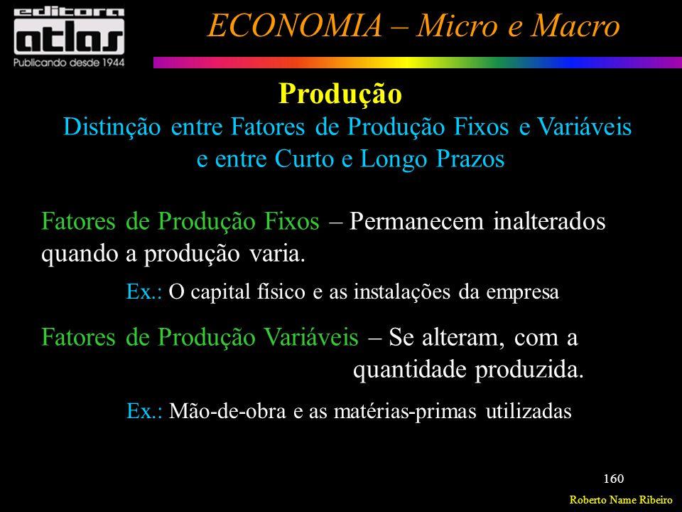 Roberto Name Ribeiro ECONOMIA – Micro e Macro 161 Produção Distinção entre Fatores de Produção Fixos e Variáveis e entre Curto e Longo Prazos Curto Prazo – Período no qual existe pelo menos um fator de produção fixo.