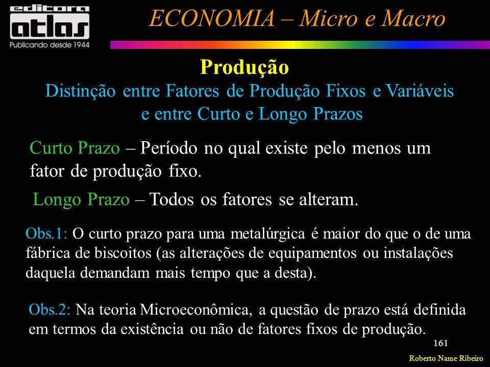 Roberto Name Ribeiro ECONOMIA – Micro e Macro 162 Produção Produção com um fator variável e um fixo: Uma análise de curto prazo.
