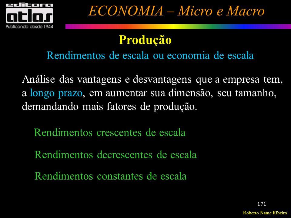 Roberto Name Ribeiro ECONOMIA – Micro e Macro 172 Produção Rendimentos crescentes de escala Se todos os fatores de produção crescerem numa mesma proporção, a produção cresce numa proporção maior.