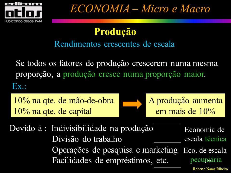 Roberto Name Ribeiro ECONOMIA – Micro e Macro 173 Produção Rendimentos decrescentes de escala Ocorre quando todos os fatores de produção crescem numa mesma proporção, e a produção cresce numa proporção menor.
