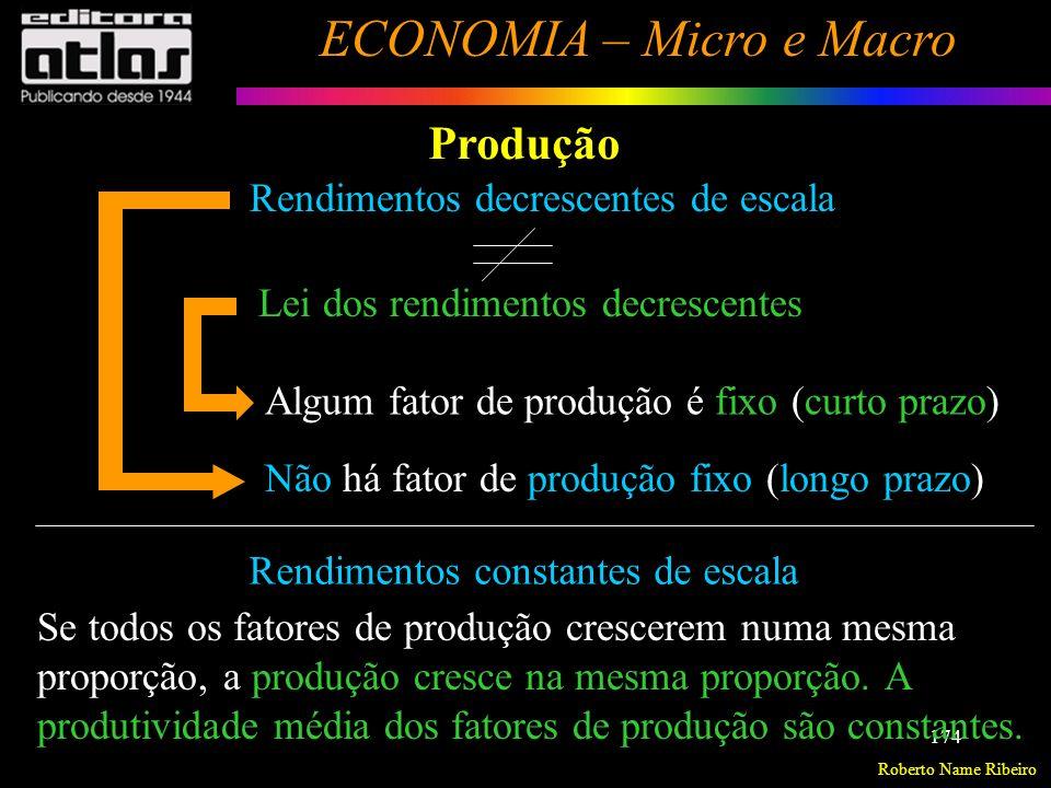 Roberto Name Ribeiro ECONOMIA – Micro e Macro 175 Produção Resolver os exercícios do livro texto, páginas 123 à 125