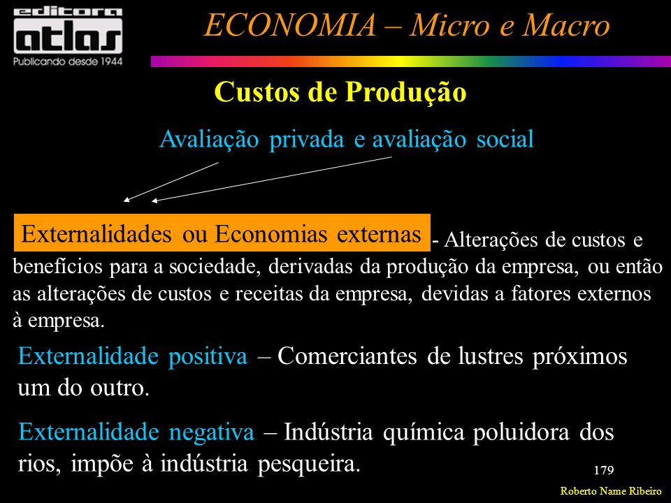 Roberto Name Ribeiro ECONOMIA – Micro e Macro 180 Custos de Produção Custos a Curto Prazo Custo Fixo Total (CFT) – Mantém-se fixa, quando a produção varia.