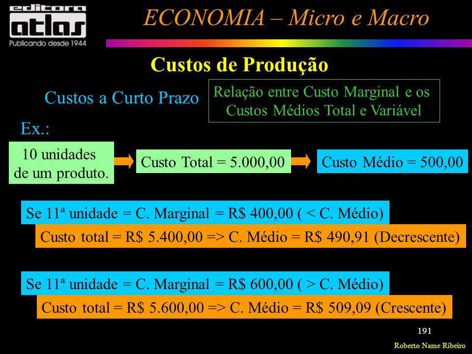 Roberto Name Ribeiro ECONOMIA – Micro e Macro 192 Custos de Produção Custos a Longo Prazo Não existem custos fixos: todos os custos são variáveis.