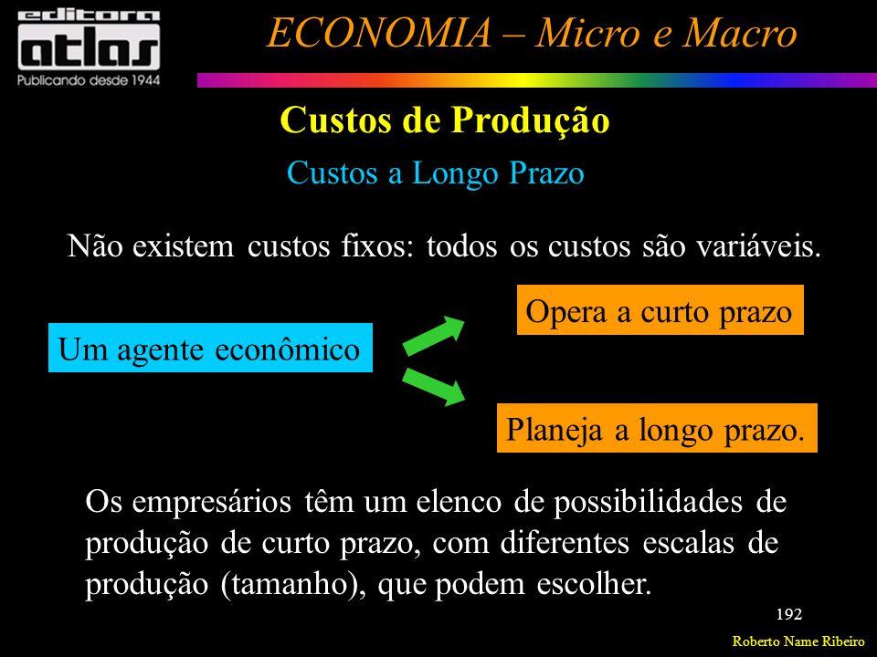 Roberto Name Ribeiro ECONOMIA – Micro e Macro 193 Custos de Produção Custos a Longo Prazo (R$) (q) Custos Quantidade q1q1 q2q2 q3q3 q4q4 CMeC 1 CMeC 2 CMeC 3 (K=10) (K=15) (K=20) Supondo 3 escalas de produção.