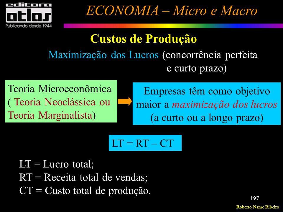 Roberto Name Ribeiro ECONOMIA – Micro e Macro 198 Custos de Produção Maximização dos Lucros Deverá escolher o nível de produção para qual a diferença positiva entre RT e CT seja a maior possível (máxima).