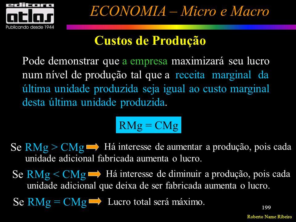 Roberto Name Ribeiro ECONOMIA – Micro e Macro 200 Custos de Produção Maximização dos Lucros
