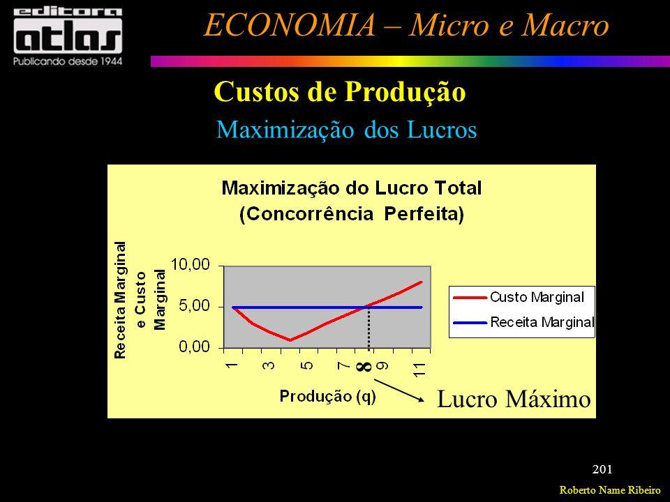 Roberto Name Ribeiro ECONOMIA – Micro e Macro 202 Custos de Produção Resolver os exercícios do livro texto, páginas 134 à 137