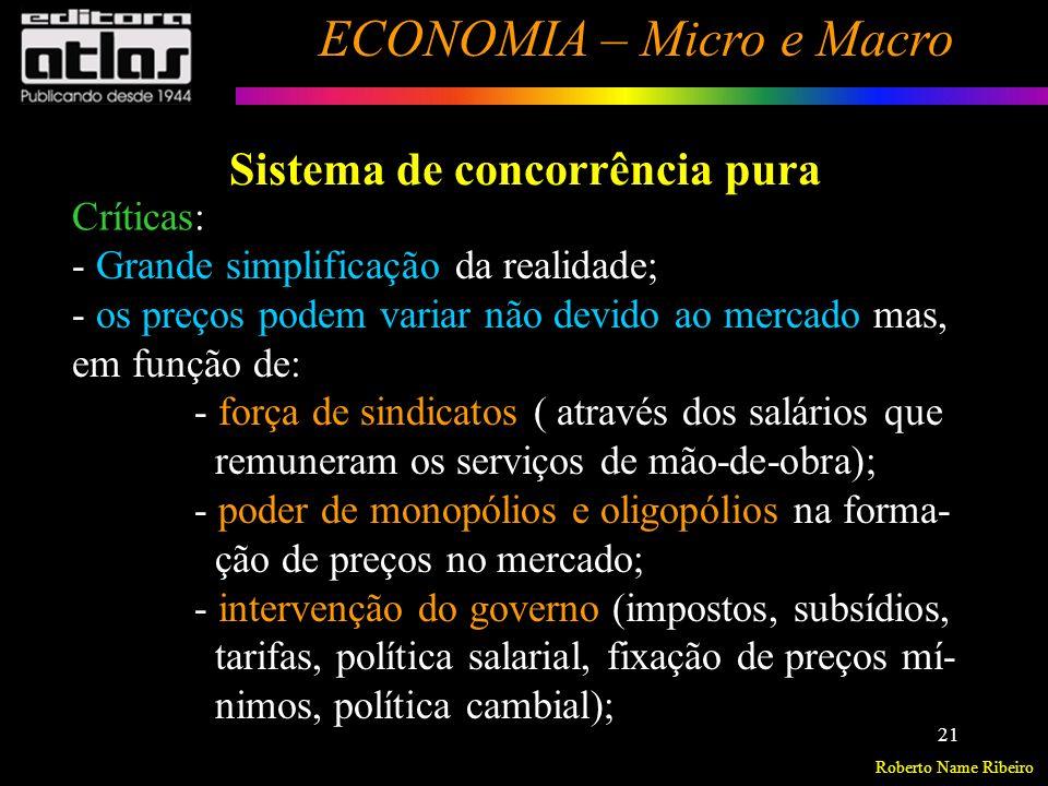 Roberto Name Ribeiro ECONOMIA – Micro e Macro 22 Sistema de concorrência pura Críticas : (cont..) - o mercado sozinho não promove perfeita alocação de recursos.