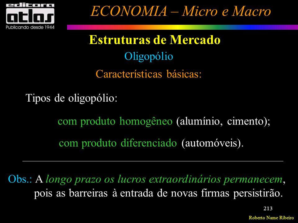 Roberto Name Ribeiro ECONOMIA – Micro e Macro 214 Estruturas de Mercado Oligopólio Características básicas: Formas de atuação das empresas: - concorrem entre si, via guerra de preços ou de promoções (forma de atuação pouco freqüente); - formam cartéis (conluios, trustes).