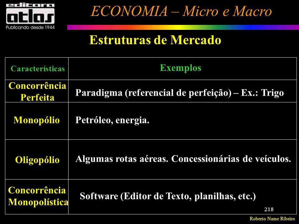 Roberto Name Ribeiro ECONOMIA – Micro e Macro 219 Estruturas do Mercado de fatores de produção Concorrência Perfeita = existe uma oferta abundante do fator de produção (ex.: mão-de-obra não especializada), o que torna o preço desse fator constante.