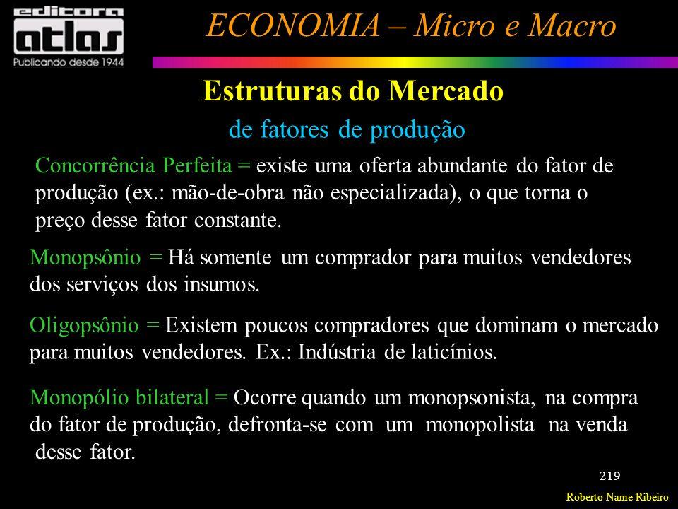 Roberto Name Ribeiro ECONOMIA – Micro e Macro 220 Estruturas de Mercado Exercício: Caracterize as principais estruturas de mercado de bens e serviços quanto ao (a) : - número de empresas; - tipo de produto; - acesso de novas empresas ao mercado - lucros a longo prazo - controle dos preços e - cite exemplos.