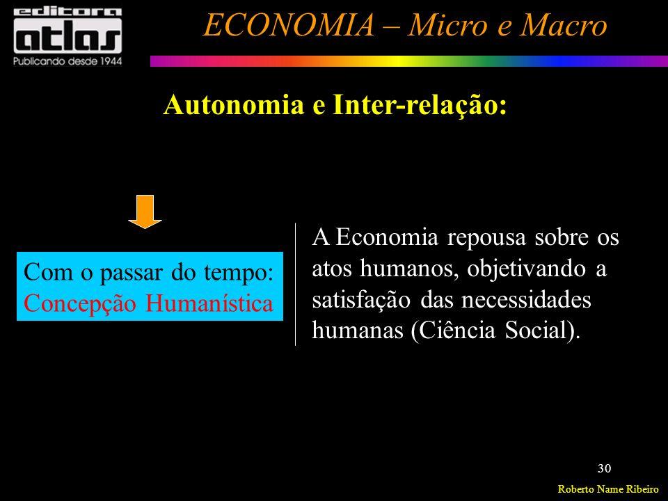Roberto Name Ribeiro ECONOMIA – Micro e Macro 31 Autonomia e Inter-relação: Dificuldade de separar os fatores essencialmente econômicos dos extra-econômicos.