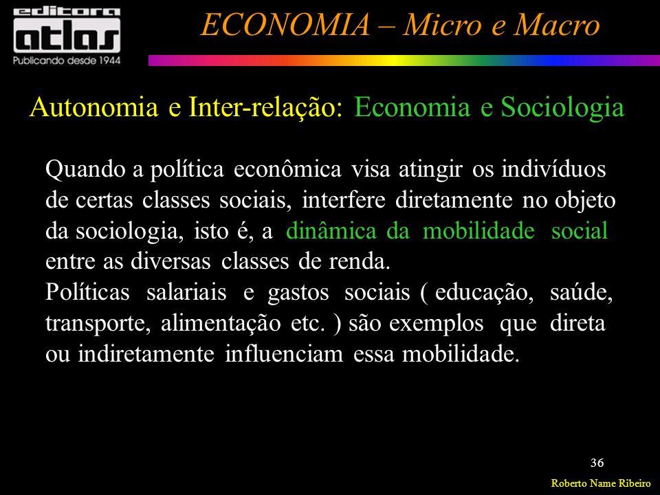 Roberto Name Ribeiro ECONOMIA – Micro e Macro 37 Economia e DireitoAutonomia e Inter-relação: Leis Anti-truste: Atuam sobre as estruturas de mercado, assim como o comportamento das empresas.