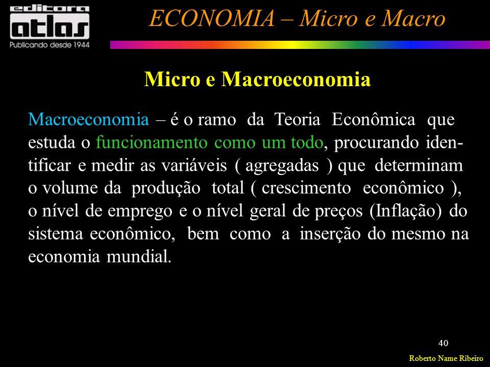 Roberto Name Ribeiro ECONOMIA – Micro e Macro 41 Micro e Macroeconomia Desenvolvimento Econômico – estuda modelos de desen- volvimento que levem à elevação do padrão de vida (bem- estar) da coletividade.