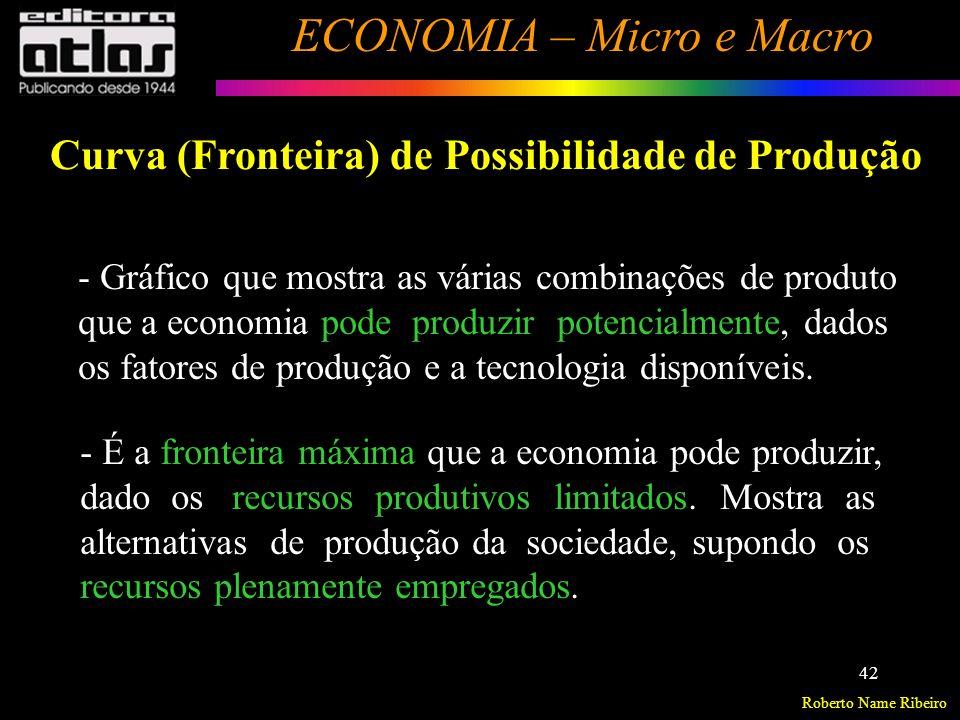 Roberto Name Ribeiro ECONOMIA – Micro e Macro 43 Modelo: 2 Bens utilizando em conjunto todos os Fatores de Produção.