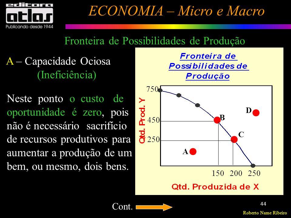 Roberto Name Ribeiro ECONOMIA – Micro e Macro 45 A B C D 250200150 750 450 250 B,C – Não há como produzir mais, sem reduzir a produção do outro.