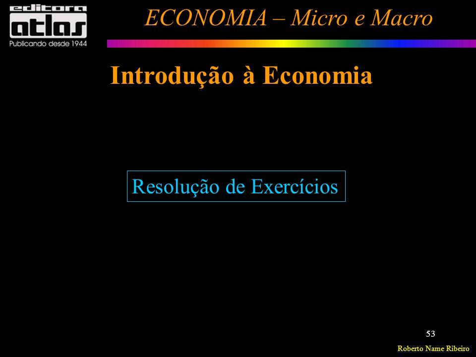 Roberto Name Ribeiro ECONOMIA – Micro e Macro 54 Fundamentos de Microeconomia Análise da Demanda de Mercado Análise da Oferta de Mercado O Equilíbrio de Mercado Exercícios - Demanda, Oferta e Equilíbrio de Mercado.