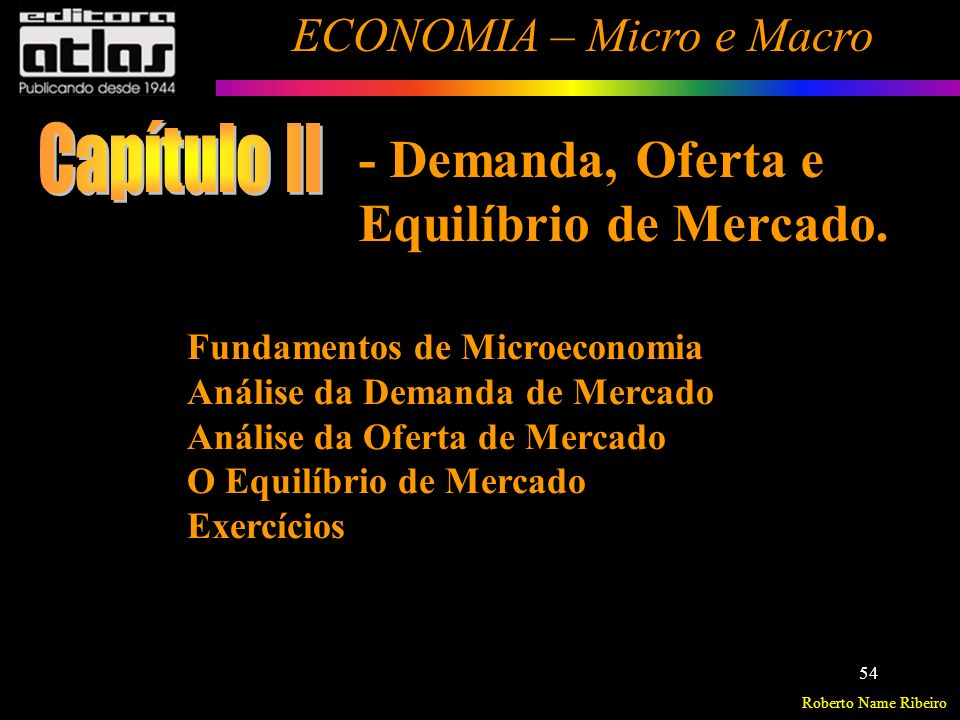 Roberto Name Ribeiro ECONOMIA – Micro e Macro 55 Fundamentos de Microeconomia Microeconomia (Teoria de Preços) – estuda o comportamento das famílias e (Consumidores) das empresas e (Firmas) os mercados (Mercados específicos) nos quais operam.
