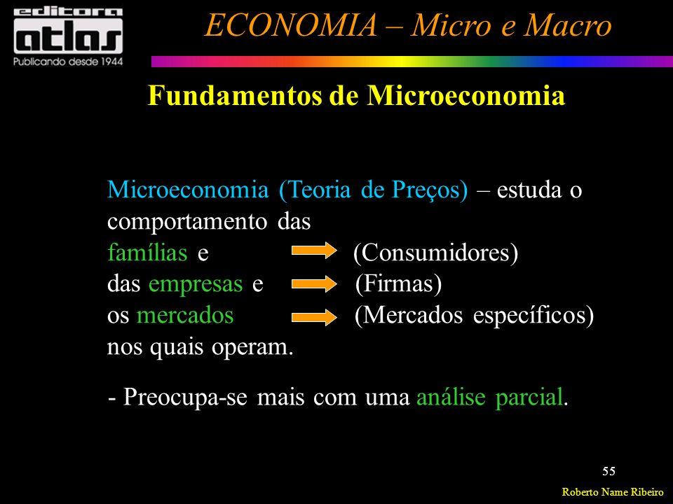 Roberto Name Ribeiro ECONOMIA – Micro e Macro 56 Fundamentos de Microeconomia Microeconomia analisa a formação de preços no mercado.