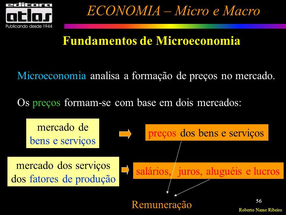 Roberto Name Ribeiro ECONOMIA – Micro e Macro 57 Fundamentos de Microeconomia Ceteris Paribus Expressão latina traduzida como outras coisas sendo iguais, é usada para lembrar que todas as variáveis, que não aquela que está sendo estudada, são mantidas constantes.