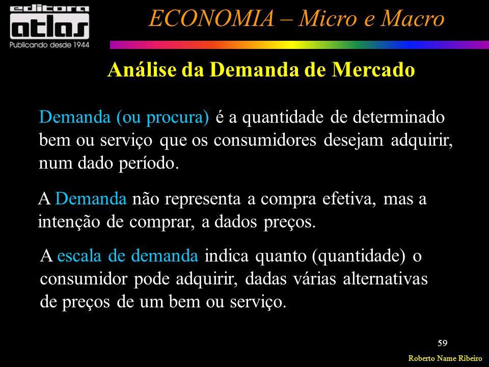 Roberto Name Ribeiro ECONOMIA – Micro e Macro 60 Análise da Demanda de Mercado Fundamentos da Teoria da Demanda Baseia-se na teoria do Valor Utilidade.