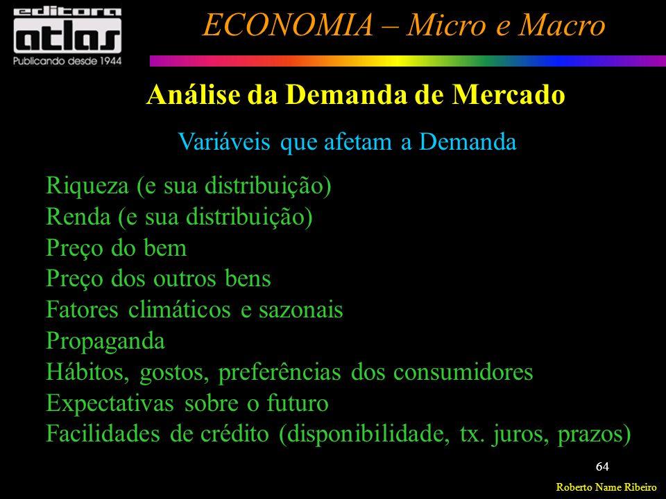 Roberto Name Ribeiro ECONOMIA – Micro e Macro 65 Análise da Demanda de Mercado Variáveis que afetam a Demanda q d i = f( p i, p s, p c, R, G) q d i = quantidade procurada (demandada) do bem i p i = preço do bem i p s = preço dos bens substitutos ou concorrentes p c = preço dos bens complementares R = renda do consumidor G = gostos, hábitos e preferências do consumidor Função Geral da Demanda Obs.: Para estudar o efeito de cada uma das variáveis, deve-se recorrer à hipótese ceteris paribus