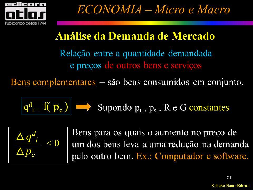 Roberto Name Ribeiro ECONOMIA – Micro e Macro 72 Análise da Demanda de Mercado Relação entre a quantidade demandada e preços de outros bens e serviços Ex.: 1- Camisa social e gravata; 2- Pneu e câmara.