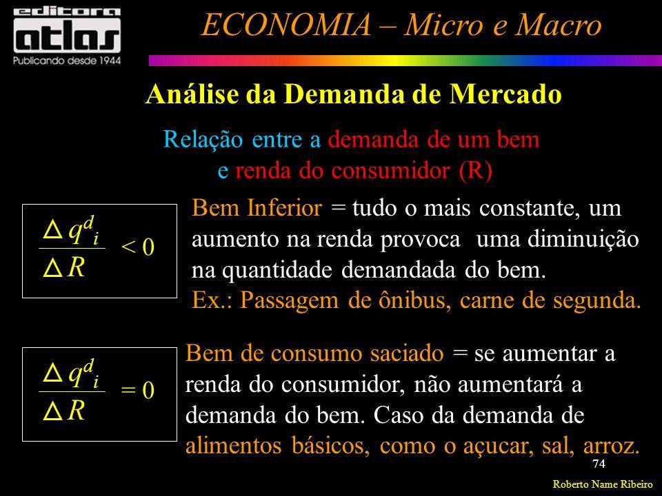Roberto Name Ribeiro ECONOMIA – Micro e Macro 75 Análise da Demanda de Mercado Relação entre a demanda de um bem e renda do consumidor (R) Essa classificação depende da classe de renda dos Consumidores.