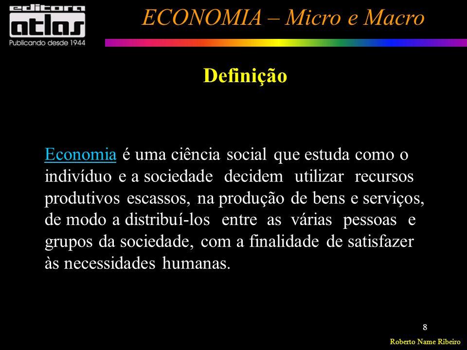 Roberto Name Ribeiro ECONOMIA – Micro e Macro 9 Problemas econômicos fundamentais Necessidades Humanas > Ilimitadas ou Infinitas.