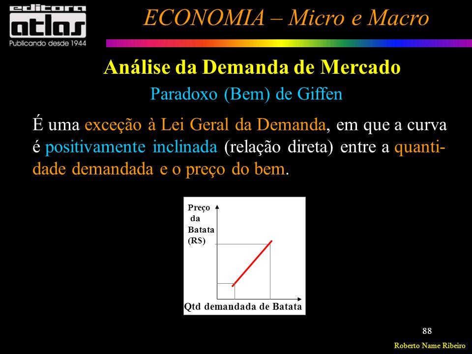 Roberto Name Ribeiro ECONOMIA – Micro e Macro 89 Análise da Demanda de Mercado Paradoxo (Bem) de Giffen Comunidade Inglesa muito pobre.