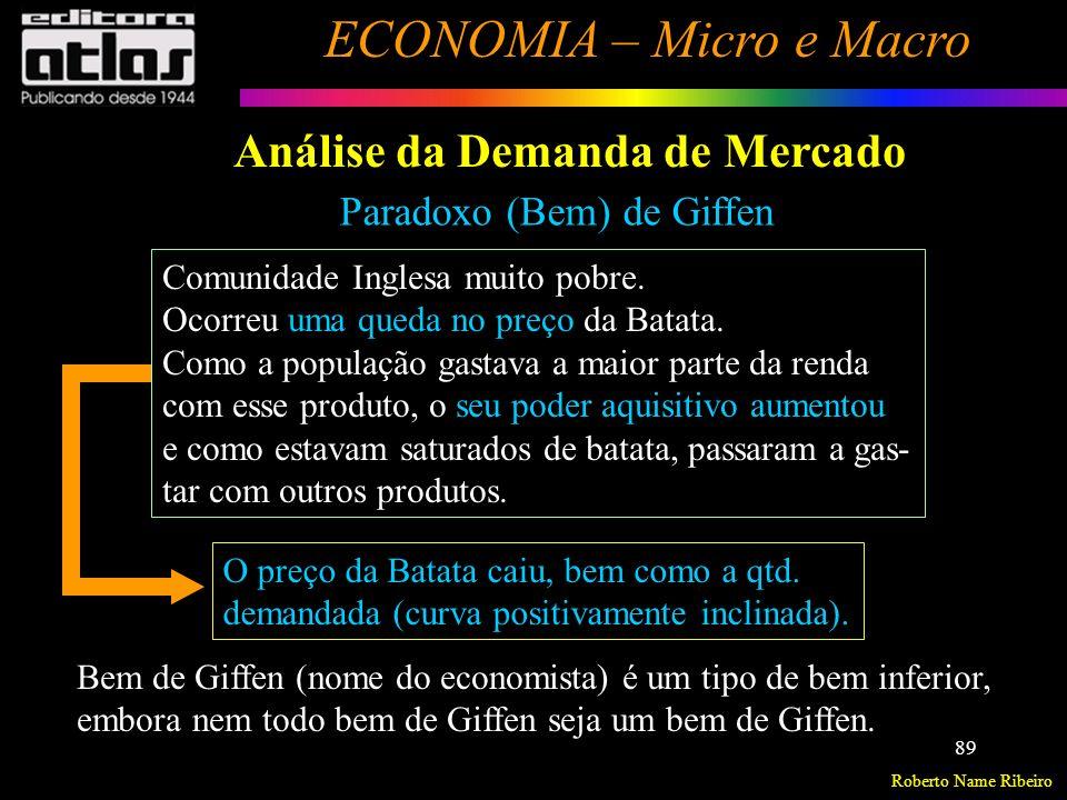 Roberto Name Ribeiro ECONOMIA – Micro e Macro 90 Análise da Demanda de Mercado Formato da Curva de Demanda Calculada estatisticamente e empiricamente (Curso de Econometria).