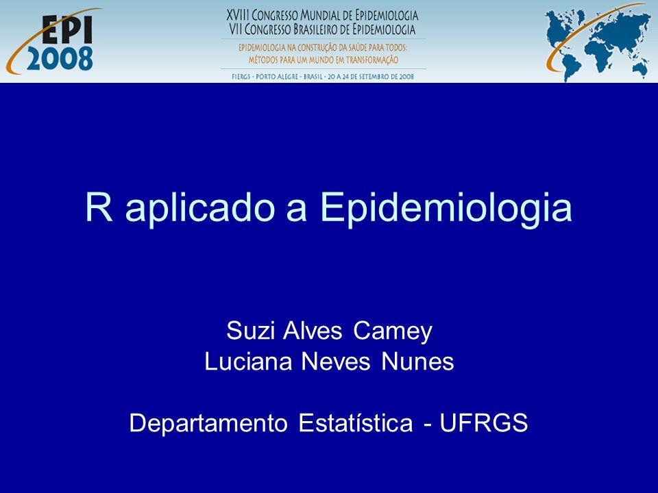 R aplicado a Epidemiologia R Página do R: –http://www.r-project.org/http://www.r-project.org/ Página com excelente tutorial do R: –http://leg.ufpr.br/~paulojus/http://leg.ufpr.br/~paulojus/ Página com material do curso: –http://euler.mat.ufrgs.br/~camey/http://euler.mat.ufrgs.br/~camey/