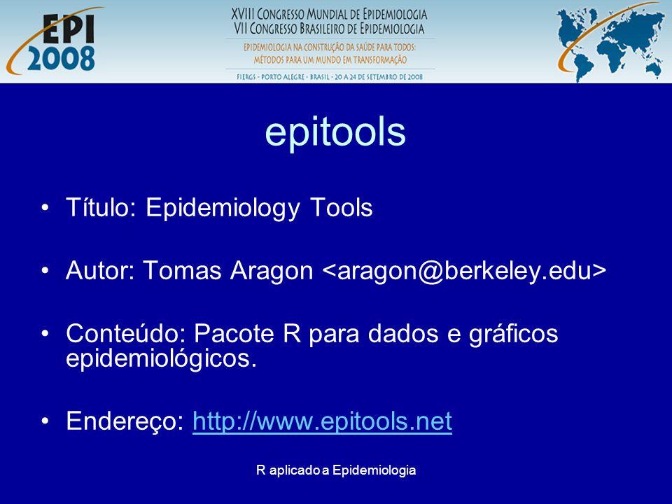 R aplicado a Epidemiologia epitools Risco relativo pessoa/ano –Exemplo: Rothman 1998, p.